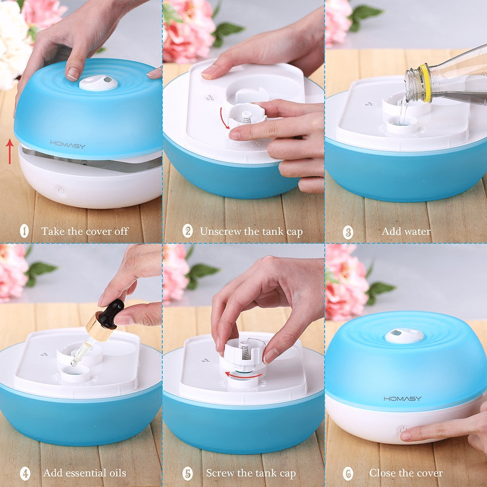 Homasy 800ml Essential Oil Diffuser Ultrasonic Cool Mist Humidifier