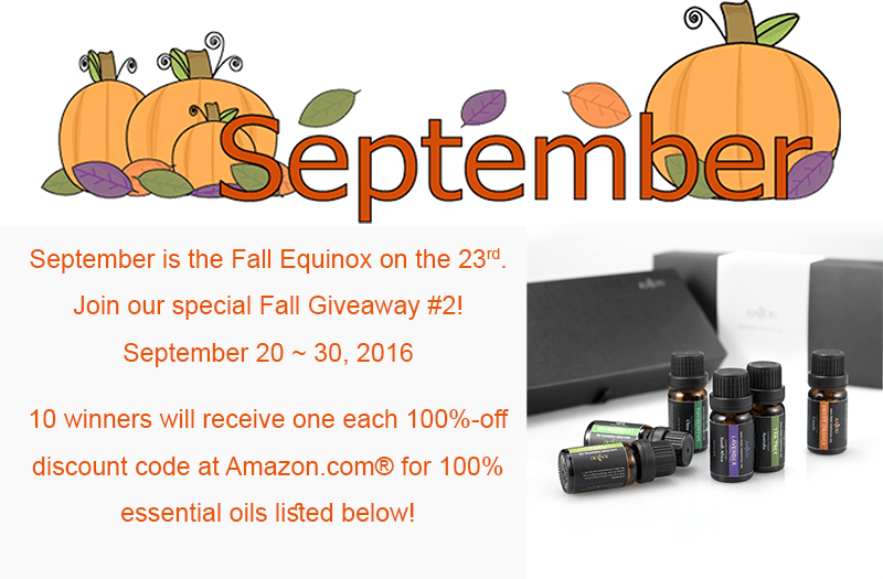 Join our Fall Giveaway #2 - 10 each 100%-off discount code for Anjou Essential Oils Gift Kit